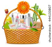 vector basket with spa cosmetics | Shutterstock .eps vector #444133807
