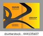 vector empty bi fold brochure... | Shutterstock .eps vector #444135607