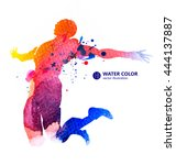 jump man  vector watercolor... | Shutterstock .eps vector #444137887