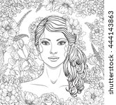 hand drawn girl with flowers.... | Shutterstock .eps vector #444143863