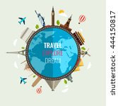 travel composition with famous... | Shutterstock .eps vector #444150817