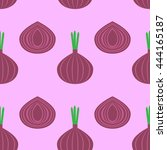 pattern with onion vector... | Shutterstock .eps vector #444165187