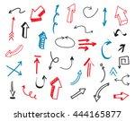 hand drawn arrows.set of... | Shutterstock .eps vector #444165877