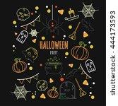 halloween party poster.... | Shutterstock .eps vector #444173593