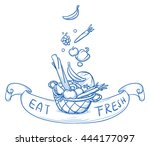 basket being filled with fresh... | Shutterstock .eps vector #444177097