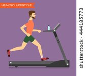 young man running on treadmill. ... | Shutterstock .eps vector #444185773