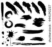 set of black paint  ink brush... | Shutterstock .eps vector #444190237