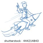 happy business man riding on a... | Shutterstock .eps vector #444214843
