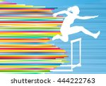 female athlete jumping over... | Shutterstock .eps vector #444222763
