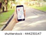 tourist using navigation app on ...   Shutterstock . vector #444250147