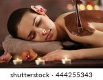 beautiful young girl in spa... | Shutterstock . vector #444255343