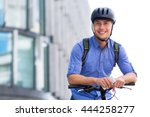 man biking in the city | Shutterstock . vector #444258277