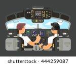 Pilots In Cockpit Flat Design