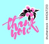 thank you card. hand lettering... | Shutterstock .eps vector #444267253