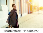 young stylish happy woman with... | Shutterstock . vector #444306697