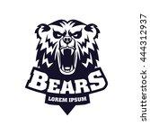 bear head logo mascot emblem on ... | Shutterstock .eps vector #444312937