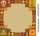 mexican themed frame decoration ... | Shutterstock .eps vector #444316957