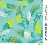 color brushed palm leaf pattern ... | Shutterstock .eps vector #444329737