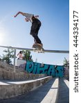 Small photo of VISEU, PORTUGAL - JUNE 26, 2016: Amateur skateboarder Guilherme Durand during the 1st Stage of DC Skate Challenge by Moche.