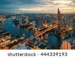chao phraya river and bangkok...   Shutterstock . vector #444339193