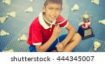 little boy and sports. he is... | Shutterstock . vector #444345007