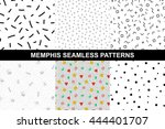 collection of abstract memphis... | Shutterstock .eps vector #444401707