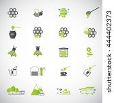 bee and honey icon set | Shutterstock .eps vector #444402373