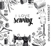 vector hand drawn sewing... | Shutterstock .eps vector #444406567