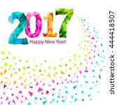 happy new year 2017 greeting... | Shutterstock .eps vector #444418507