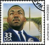 Small photo of MOSCOW, RUSSIA - MAY 11, 2016: A stamp printed in USA shows Martin Luther King, Jr. (1929-1968), I Have a Dream, speech 28 August 1963, civil rights leader, Celebrate the Century, 1960s, circa 1999