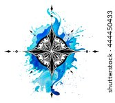 compass. ink and watercolor... | Shutterstock . vector #444450433