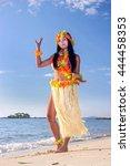 hula hawaii dancer dancing on... | Shutterstock . vector #444458353