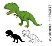 green gigantic dinosaur... | Shutterstock .eps vector #444463597