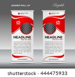 red roll up banner stand... | Shutterstock .eps vector #444475933
