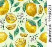 watercolor seamless pattern... | Shutterstock . vector #444489043