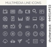 thin line multimedia icons on... | Shutterstock .eps vector #444514933