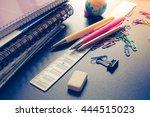 school supplies on blackboard... | Shutterstock . vector #444515023