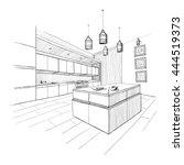 interior sketch of modern... | Shutterstock .eps vector #444519373