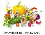 mini canapes in plastic cups... | Shutterstock . vector #444524767