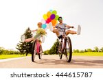 happy funny young couple riding ... | Shutterstock . vector #444615787