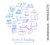 hand drawn doodle books and... | Shutterstock .eps vector #444623173