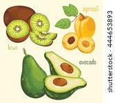 set of fruit mix vector... | Shutterstock .eps vector #444653893