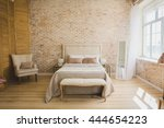 beautiful loft bedroom with bed ... | Shutterstock . vector #444654223