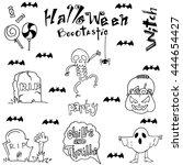 halloween skull bat zombie tomb ... | Shutterstock .eps vector #444654427