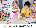 pupil doing science while... | Shutterstock . vector #444656617