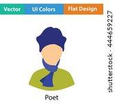 poet icon. flat color design....