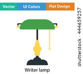 writer's lamp icon. flat color...