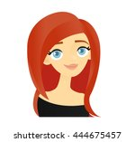 smiling red haired woman | Shutterstock .eps vector #444675457