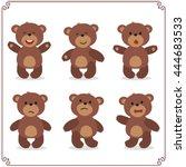 Set Of Cartoon Teddy Bear In...