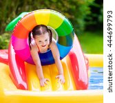 children playing in inflatable... | Shutterstock . vector #444699793